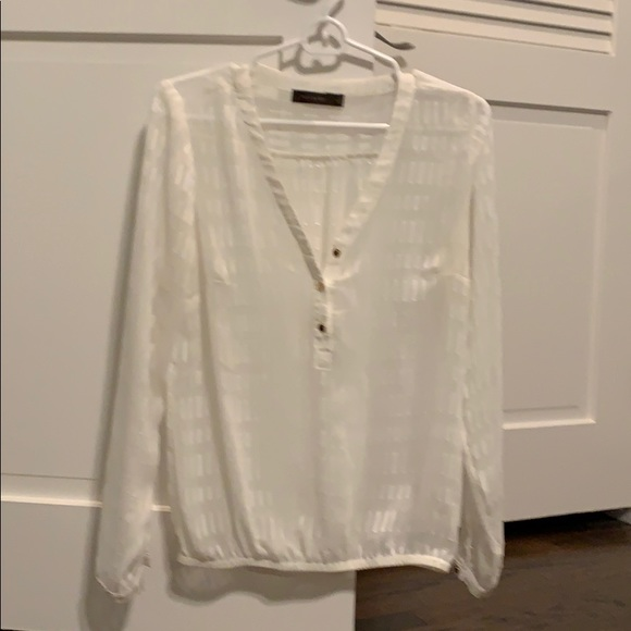 The Limited Tops - Women's ivory sheer blouse